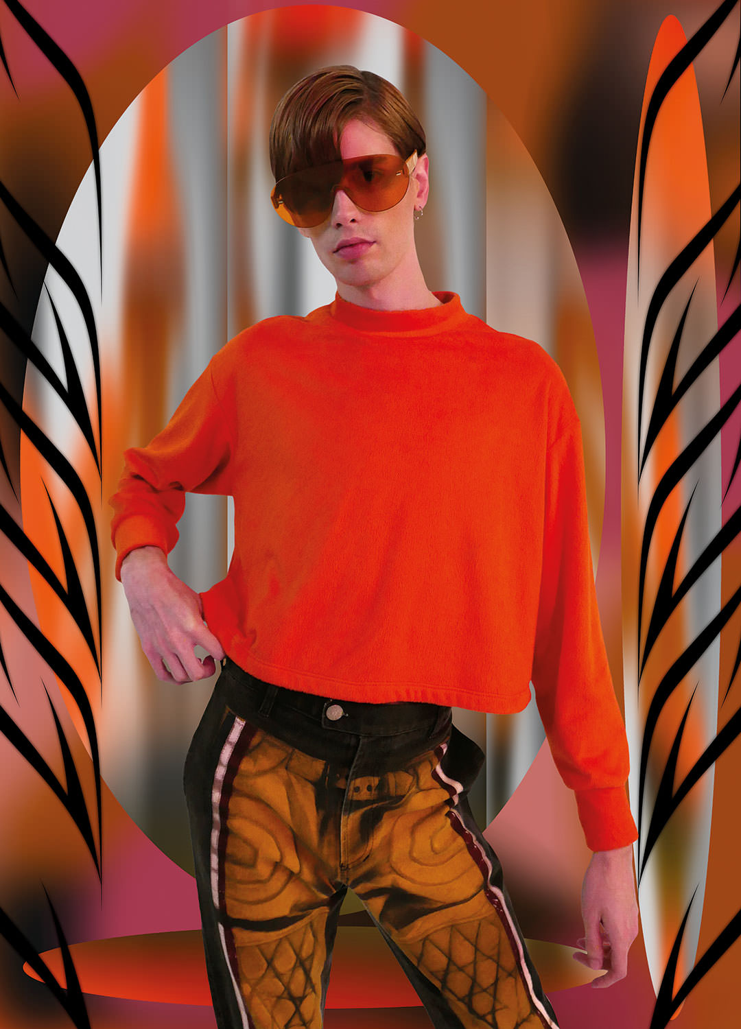 Logan: Sunglasses: Retro Super Future, Top: Eckhaus Latta, Pants:Jean Paul Gautier vintage courtesy of James Veloria Studio