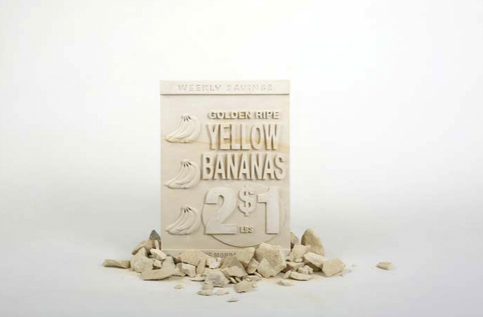 Supermarket Poster_Bananas, Limestone, 14 x 24 x 3inches, 3 variation, Edition of 1, 2015